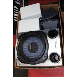 BOX OF MISC.; BOSE, SONY, & JBL SPEAKERS
