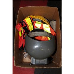 BOX W/ WELDING MASK, HARD HAT, VEST, WORK SUPPLIES