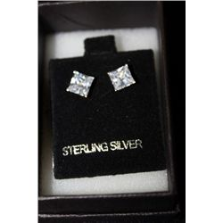 .925 STERLING SILVER CZ STONES EARRINGS