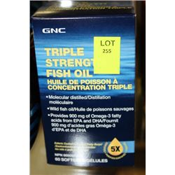 BOTTLE OF 60 GNC TRIPLE STRENGTH FISH OIL
