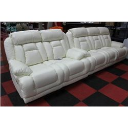 NEW WHITE LEATHER RECLINING SOFA AND LOVE SEAT