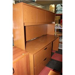 #5 SHOWHOME OFFICE DESK W HUTCH AND 2 DRAWER FILER
