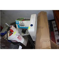 PALLET W BOX FAN/FIRE EXTINGUISHERS/PRINTERS ETC