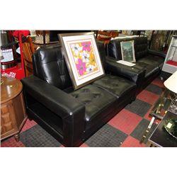 BLACK LEATHER DESIGNER SOFA AND LOVE SEAT