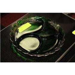 GREEN GLASS SERVING PLATTER