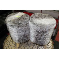 #21 PAIR OF FURRY STOOLS