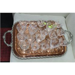 ESTATE COPPER TRAY W PINWHEEL CRYSTAL GLASSES