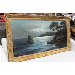 LARGE WATER SCENE FRAMED PAINTING