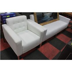 SHOWHOME WHITE LEATHERETTE SOFA AND CHAIR