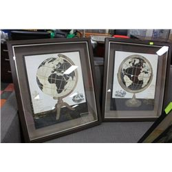 SHOWHOME PAIR OF GLOBE PICTURES