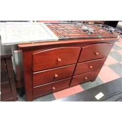 #17 WOOD 6 DRAWER SHOWHOME DRESSER