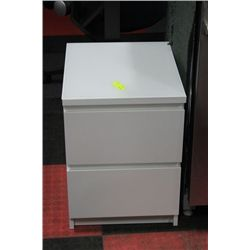 #51 SHOWHOME WHITE 2 DRAWER GLASSTOP NIGHT STAND