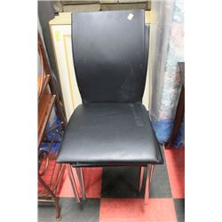 SET OF 3 BLACK AND CHROME SIDECHAIRS