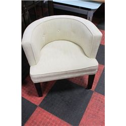 #19 SHOWHOME WOOD AND FABRIC ARMCHAIR X2