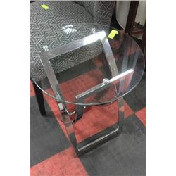 #11 METAL AND GLASS SHOWHOME SIDETABLE