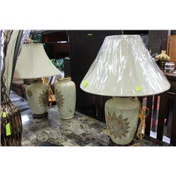 PAIR OF PORCELAIN LAMPS W/ VASE