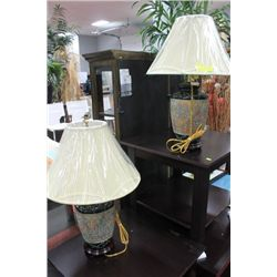 PAIR OF PORCELAIN LAMPS - GOLD & MARBLE STYLE
