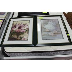 #52 PAIR OF GREEN FRAMED PICTURES