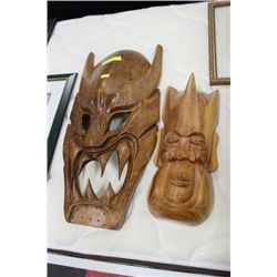 PAIR OF WOODEN MASKS