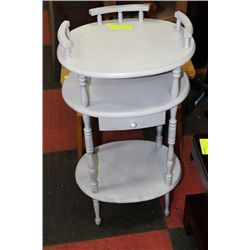 WHITE OVAL SIDE TABLE
