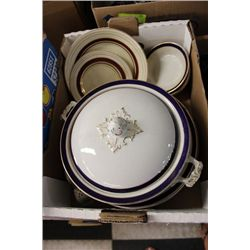 BOX OF CHINA, WITH GRIMWADES  AND ENGLIGH BRANDS