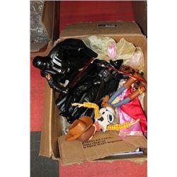 BOX OF DISNEY COSTUME DRESSES & KIDS TOYS