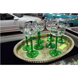 ESTATE TRAY W GREEN GLASSES