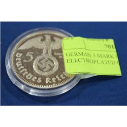 GERMAN 5 MARK GOLD ELECTROPLATED COIN