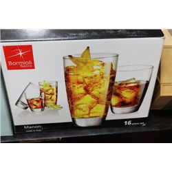 16 PC DRINKING GLASS SET