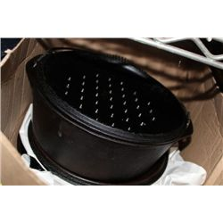 BOX OF CAST IRON COOKING POTS ETC