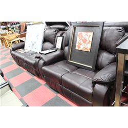 NEW BROWN LEATHER RECLINING SOFA AND LOVE SEAT
