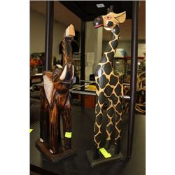 WOOD CARVED ELEPHANT AND GIRAFFE ORNAMENT