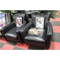 BLACK LEATHERETTE PARLOUR CHAIR X2