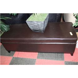 BROWN LEATHERETTE STORAGE OTTOMAN
