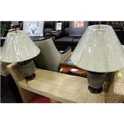 PAIR OF WOOD BASED LAMPS