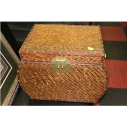 WICKER AND WOOD STORAGE CHEST