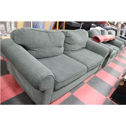 3 PC GREEN FABRIC SOFA/LOVE SEAT AND CHAIR