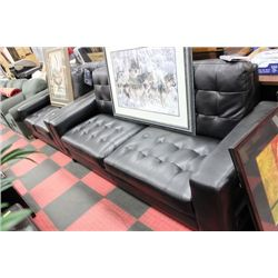 NEW BLACK LEATHER DESIGNER SOFA NAD LOVE SEAT