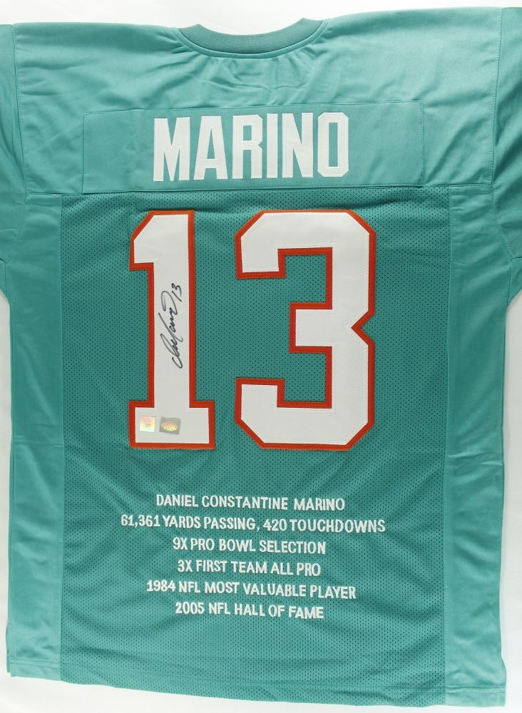 outlet store a4549 eff46 Dan Marino Signed Dolphins Stat Jersey (Super Star COA)