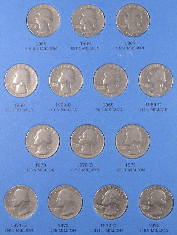 COMPLETE SET WASHINGTON QUARTERS, 1965-2009, $45 FACE VALUE, MANY BU's
