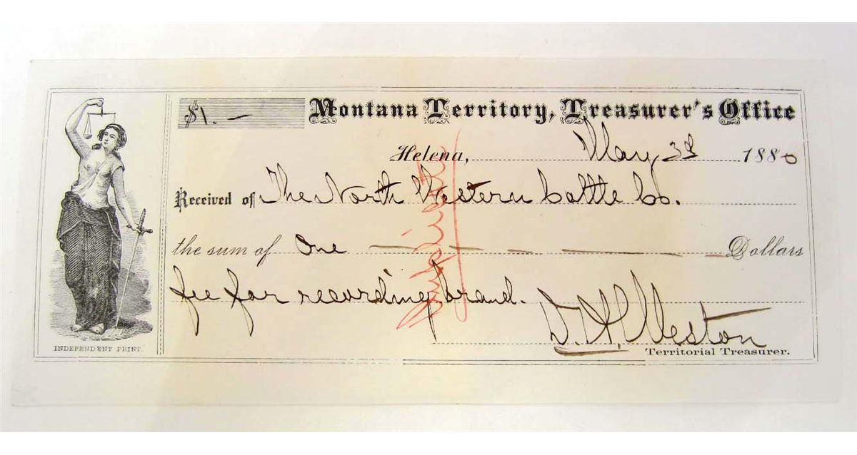 1880 MONTANA TERRITORY TREASURERS OFFICE RECEIPT
