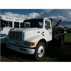 1997 International 4700 WINCH TRUCK WITH BOOM, DT444 DIESEL ENGINE, AUTO TRANS Ser#:1HTSCABN5VH44420