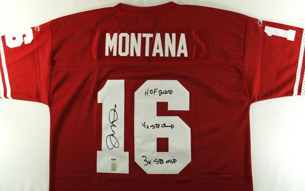 separation shoes 92909 8af1d Joe Montana Signed 49ers Jersey with Stat Inscriptions (PSA ...