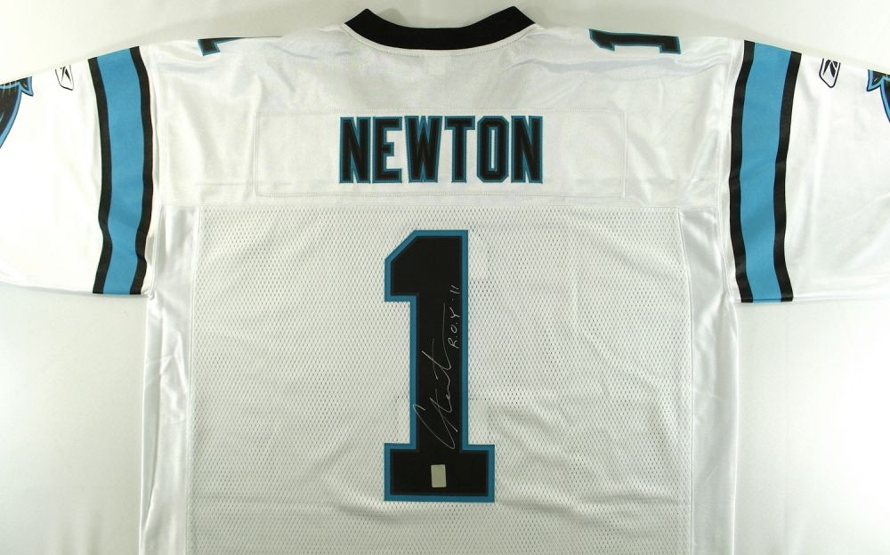 new styles 1f33d 67fd8 Cam Newton Signed Panthers Jersey Inscribed