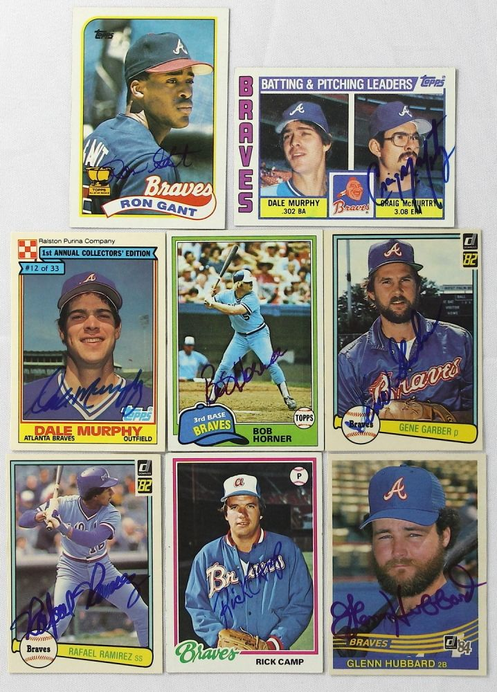 Lot Of 8 Signed Baseball Cards With Dale Murphy Bob