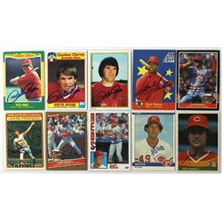 Lot Of 10 Signed Cincinnati Reds Baseball Cards With Pete