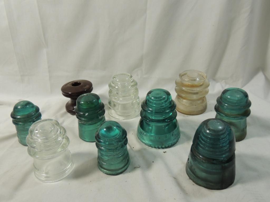 LOT 10 VINTAGE GLASS INSULATORS