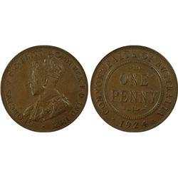 1924(m,sy) Penny PCGS AU 58