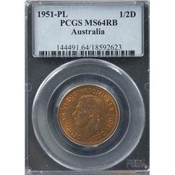 1951-PL ½ Penny PCGS MS64RB