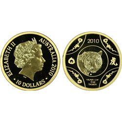 """2010 $10 Gold """"Tiger"""" PCGS PR69DCAM"""